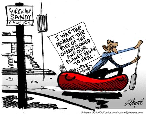 Henry Payne 187 Editorial Cartoon Obama And Hurricane Sandy