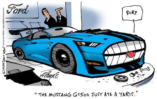 Henry Payne Cartoon Mustang 500